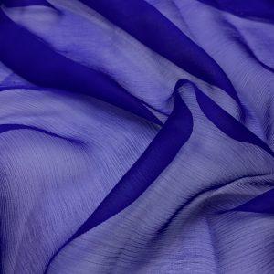 Voal creponat de matase naturala (muselina) albastru-royal inchis