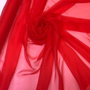 Voal creponat de matase naturala (muselina) rosu