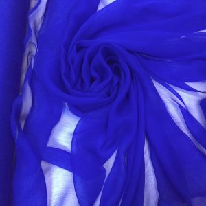 Voal creponat de matase naturala (muselina) albastru