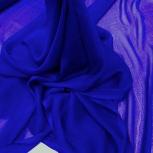 Voal chiffon de matase naturala albastru-royal inchis