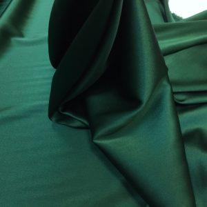 Satin de matase naturala cu elastan verde-inchis