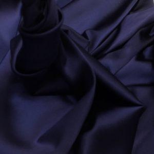 Satin de matase naturala cu elastan bleumarin-indigo