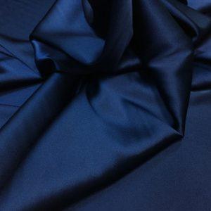 Satin de matase naturala cu elastan bleumarin