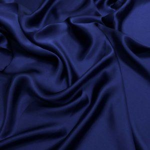 Satin de matase naturala fara elastan albastru inchis