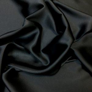 Satin de matase naturala fara elastan negru
