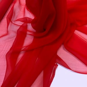 Voal creponat de matase naturala (muselina) rosu-aprins