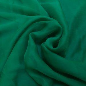 Voal creponat de matase naturala (muselina) verde-smarald