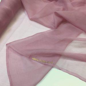 Voal creponat de matase naturala (muselina) roz-prafuit