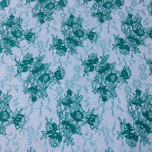 Dantela tip Chantilly verde-turcoaz