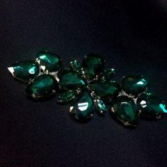 Accesoriu argintiu pietre verde-inchis