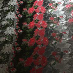 Tafta panou flori rosii