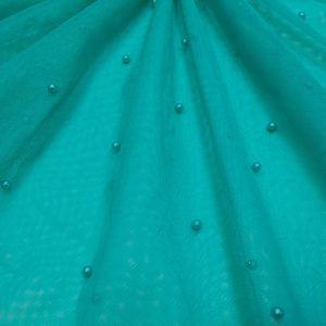Tulle verde-turcoaz cu perle