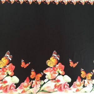 Tafta Duchesse neagra imprimeu digital fluturi si flori