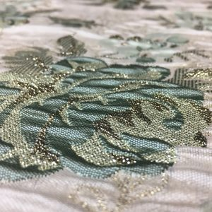 Brocart imperial verde-pastel cu fir lame auriu
