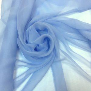 Voal creponat de matase naturala (muselina) bleu
