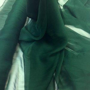 Voal creponat de matase naturala (muselina) verde-khaki inchis