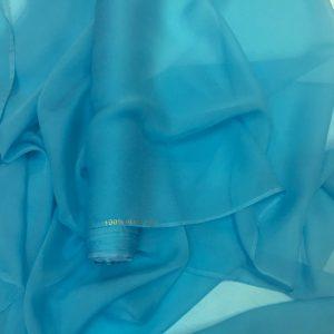 Voal creponat de matase naturala (muselina) bleu-turcoaz
