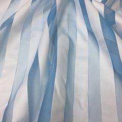 Organza bleu cu dungi albe