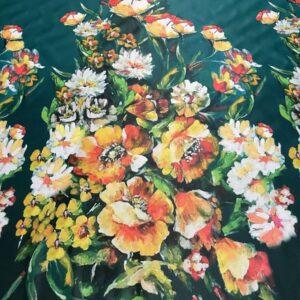 Tafta Duchesse verde cu bordura imprimeu floral