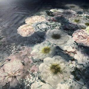 Tafta Duchesse albastru inchis cu bordura imprimeu floral