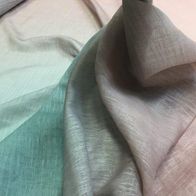 Organza cu fire degrade piersiciu prafuit-verde