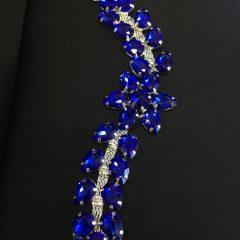 Accesoriu argintiu pietre albastru-royal