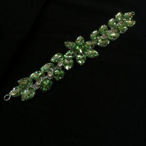 Accesoriu argintiu pietre verde pastel