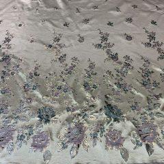 Brocart imperial cu bordura flori verde-aqua