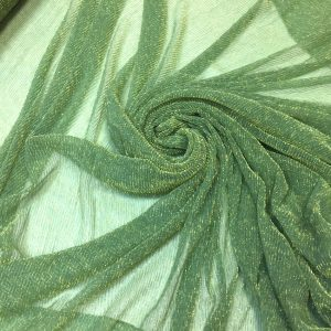 Lurex plisat verde-pastel cu fir lame auriu