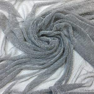 Lurex plisat gri cu fir lame argintiu