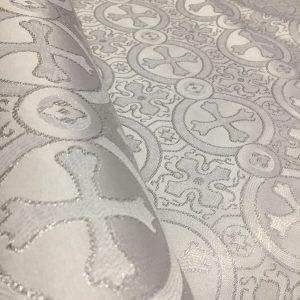 Brocart cruci gri deschis-argintiu