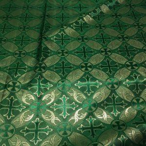 Brocart cruci verde cu fir lame auriu