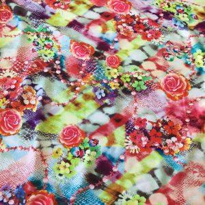 Batist de bumbac imprimeu floral