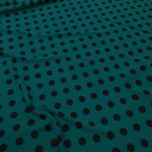 Tesatura verde-marin cu imprimeu buline negre