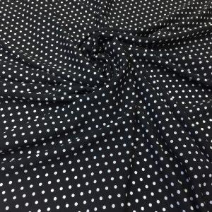 Tesatura neagra cu imprimeu buline mici albe
