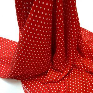 Tesatura rosie cu imprimeu buline mici albe