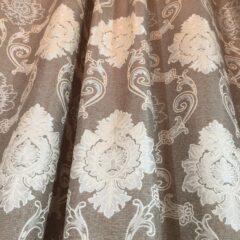 Material draperie bej motiv baroc