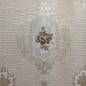Material draperie bej-maro cu motiv floral