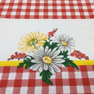 Bumbac fata de masa rosu cu imprimeu floral