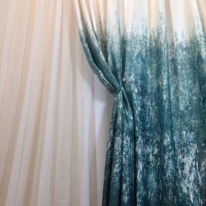 Material draperie degrade turcoaz