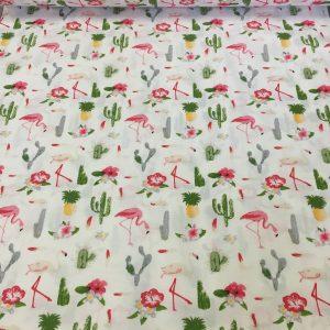 Bumbac ranforce imprimeu pasari flamingo