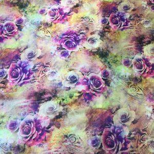 Satin elastic imprimeu floral