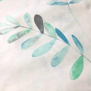 Bumbac ranforce imprimeu frunze aqua