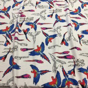 Batist de bumbac cu imprimeu papagali