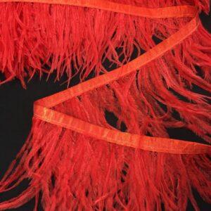 Banda satinata rosu-coral cu fulgi de strut