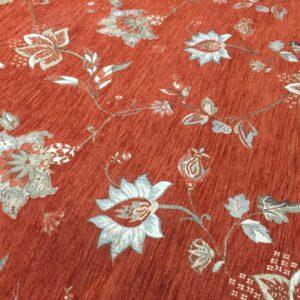 Tesatura tapiserie caramiziu cu flori