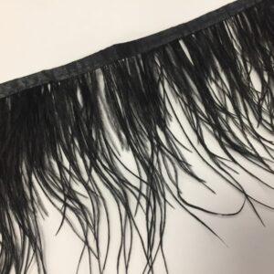 Banda satinata neagra cu fulgi de strut