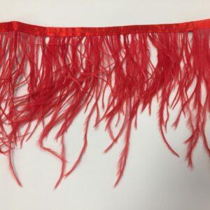 Banda satinata rosie cu fulgi de strut