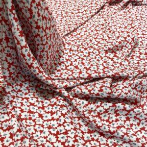 Batist de bumbac rosu cu imprimeu floral