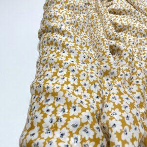 Batist de bumbac galben cu imprimeu floral